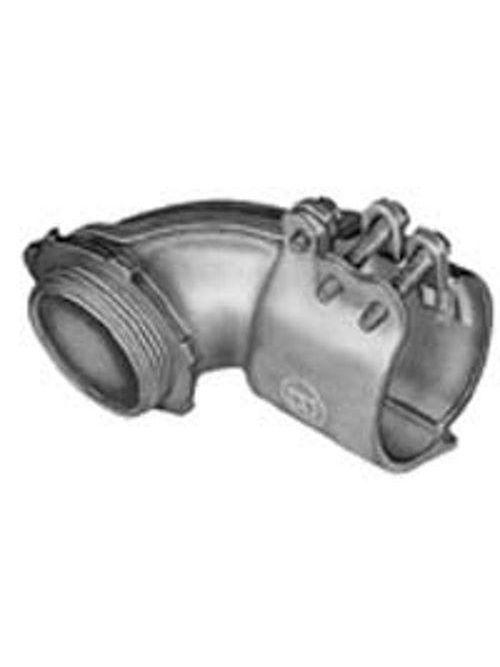 "Bridgeport 813-I 3-1/2"" 90deg Flexible Metal Conduit Connector w/Insulated Throat, Malleable Iron"