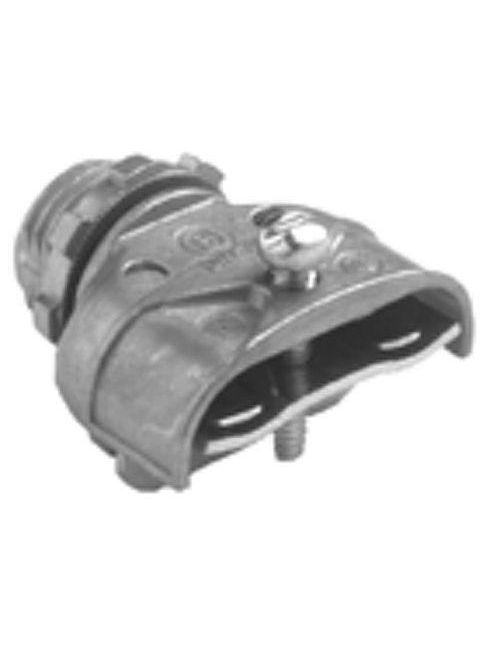"""Bridgeport 601-DC2 3/8"""" FMC/AC/MC Strap-Type Duplex Connector, Zinc Die Cast"""