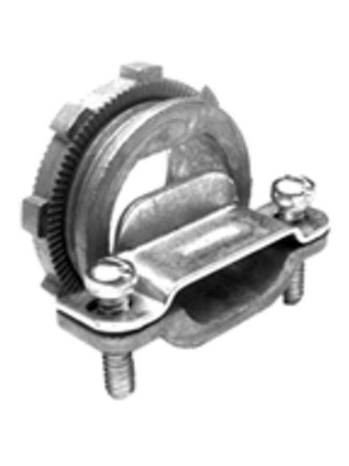 """Bridgeport 672-DC2 1"""" Two-Screw Strap-Type NM Cable Connector, Oval Cable, Zinc Die Cast"""