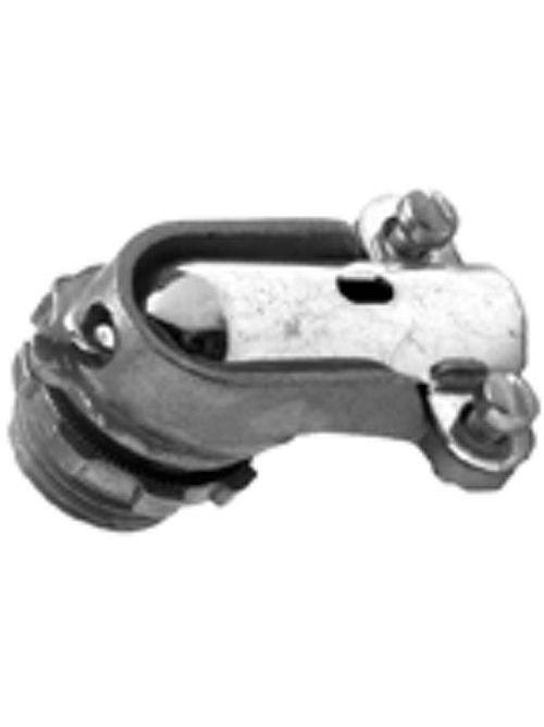 "Bridgeport 814-DC2 4"" 90deg Flexible Metal Conduit Connector, Zinc Die Cast"