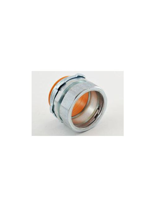 """Bridgeport 253-USI 1-1/4"""" EMT Compression Connector with Insulated Throat, Steel (USA)"""