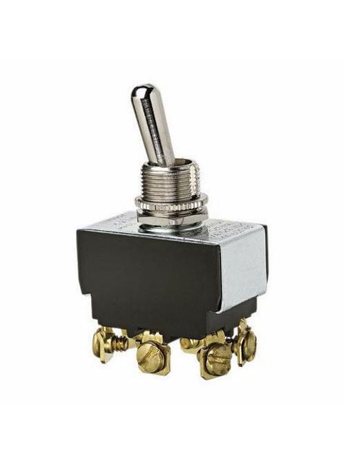 Ideal Industries 774003 10/20 Amp 125/277 VAC DPDT On-Off-On Nickel Plated Brass Heavy Duty Toggle Switch