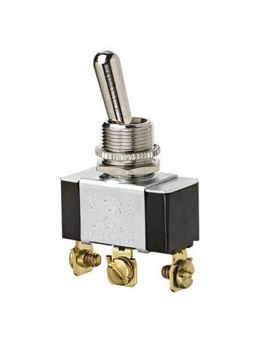 Ideal Industries 774027 10/20 Amp 125/277 VAC SPDT On-Off-On Nickel Plated Brass Heavy Duty Toggle Switch
