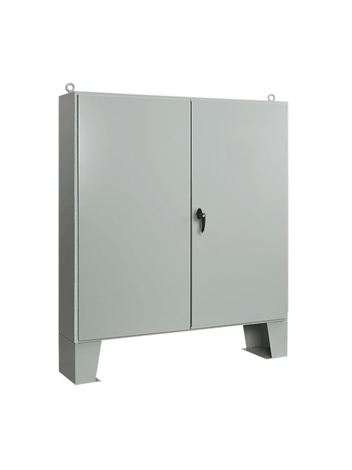 Hoffman A727224ULPG 72.06 x 72.06 x 24.06 Inch Gray 12 Gauge Steel NEMA 12 Floor Mount Enclosure
