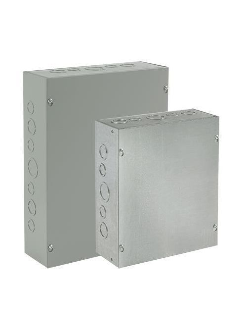 Hoffman ASG12X12X8NK Galvanized Steel NEMA 1 Screw Cover Pull Box without Knockouts