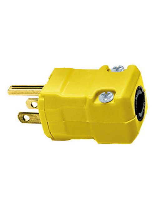Hubbell Wiring Devices HBL5965VY 15 Amp 125 Volt 2-Pole 3-Wire NEMA 5-15P Yellow Nylon Straight Blade Plug