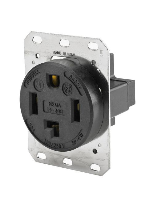 Hubbell Wiring Devices HBL9430A 30 Amp 125/250 Volt 3-Pole 4-Wire NEMA 14-30R Black Straight Blade Receptacle
