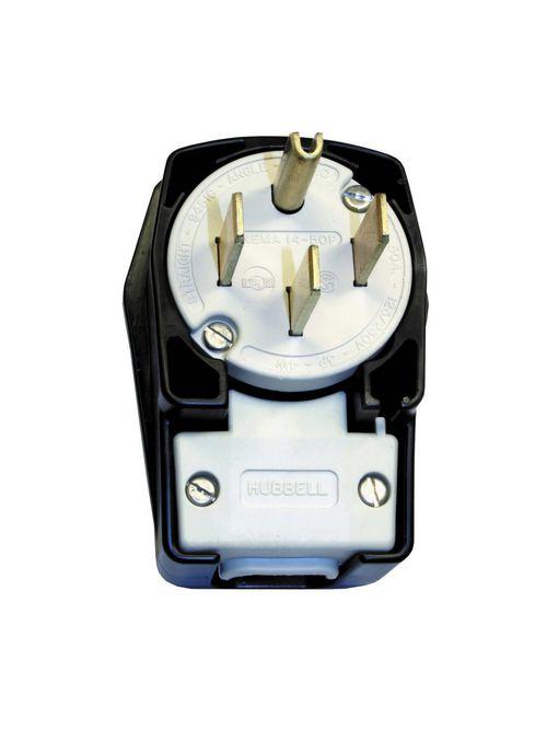 Hubbell Wiring Devices HBL9452C 50 Amp 125/250 Volt 3-Pole 4-Wire NEMA 14-50P Black Nylon Straight Blade Plug