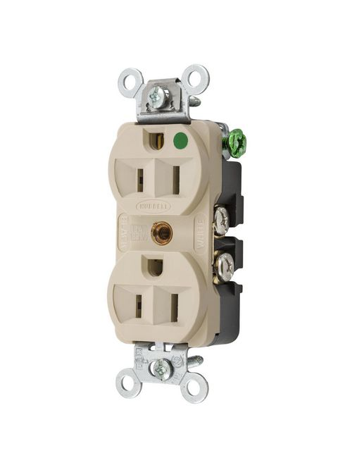 Hubbell Wiring Devices HBL8200HI 15 Amp 125 Volt 2-Pole 3-Wire NEMA 5-15R Ivory Straight Blade Duplex Receptacle