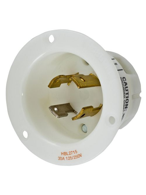 Hubbell Wiring Devices HBL2715 30 Amp 125/250 Volt 3-Pole 4-Wire NEMA L14-30P White Locking Flanged Inlet