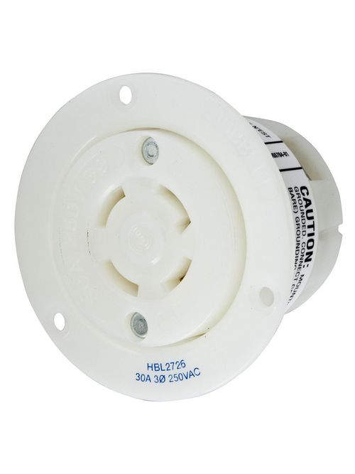 Hubbell Wiring Devices HBL2726 30 Amp 250 Volt 3-Pole 4-Wire NEMA L15-30R White Locking Flanged Receptacle
