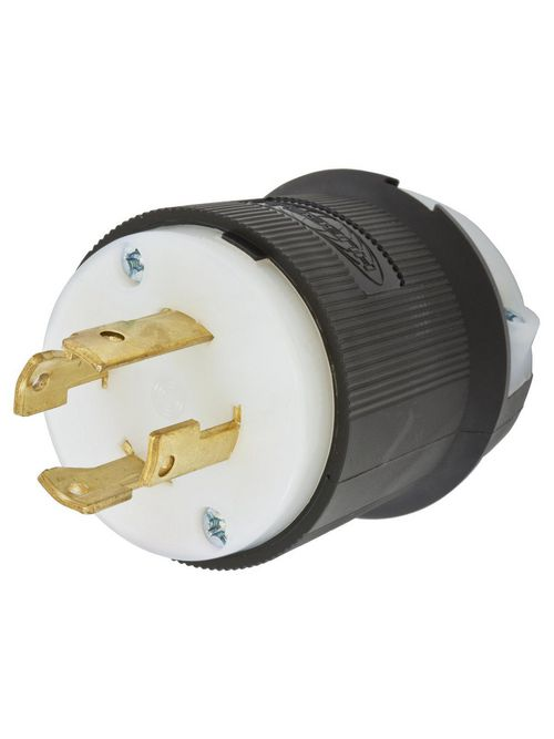 Hubbell Wiring Devices HBL2731 30 Amp 480 Volt 3-Pole 4-Wire NEMA L16-30P Black and White Locking Plug