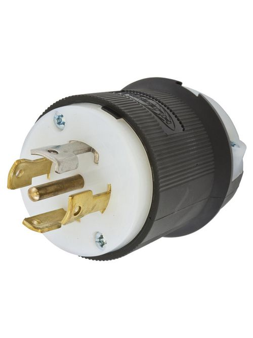 Hubbell Wiring Devices HBL2811 30 Amp 120/208 VAC 4-Pole 5-Wire NEMA L21-30P Black and White Locking Plug