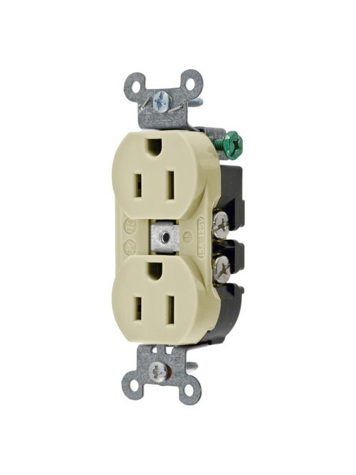Hubbell Wiring Devices 5252AI 15 Amp 125 Volt 2-Pole 3-Wire NEMA 5-15R Ivory Straight Blade Duplex Receptacle
