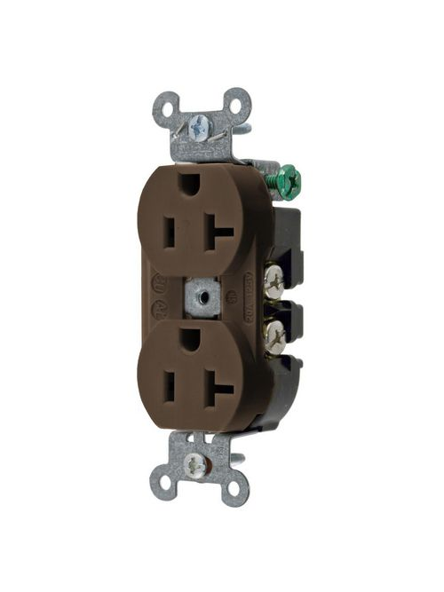 Hubbell Wiring Devices 5352AB 20 Amp 125 Volt 2-Pole 3-Wire NEMA 5-20R Brown Straight Blade Duplex Receptacle