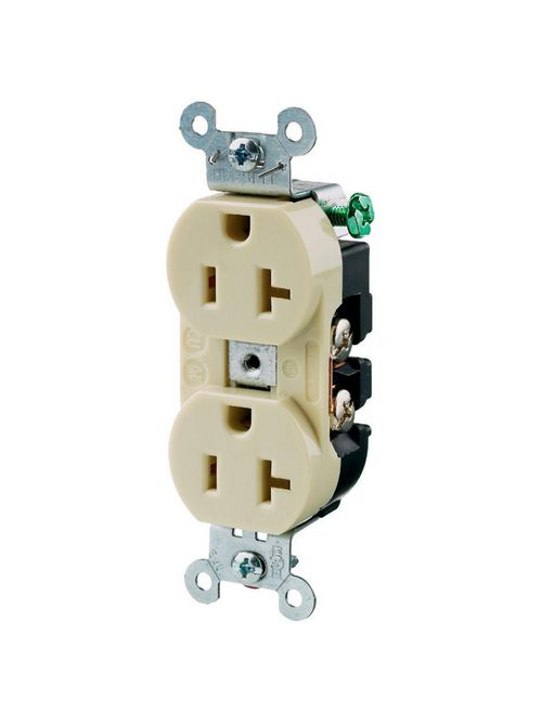 Hubbell Wiring Devices 5352AI 20 Amp 125 Volt 2-Pole 3-Wire NEMA 5-20R Ivory Straight Blade Duplex Receptacle