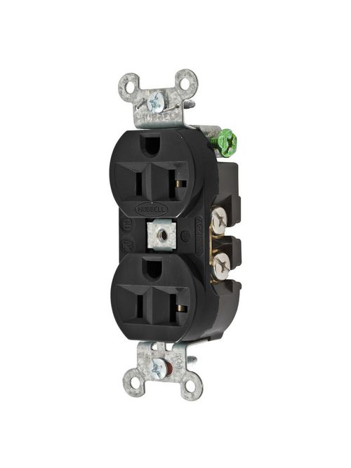 Hubbell Wiring Devices 5362BLK 20 Amp 125 Volt 2-Pole 3-Wire NEMA 5-20R Black Straight Blade Duplex Receptacle