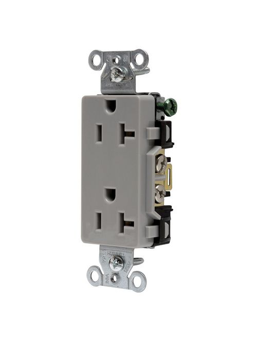 Hubbell Wiring Devices DR20GRY 20 Amp 125 Volt 2-Pole 3-Wire NEMA 5-20R Gray Nylon Straight Blade Duplex Receptacle