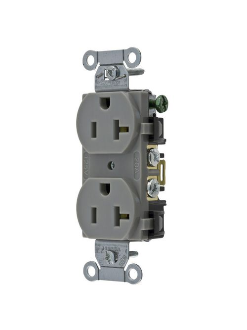 Hubbell Wiring Devices BR20GRY 20 Amp 125 Volt 2-Pole 3-Wire NEMA 5-20R Gray Nylon Straight Blade Duplex Receptacle