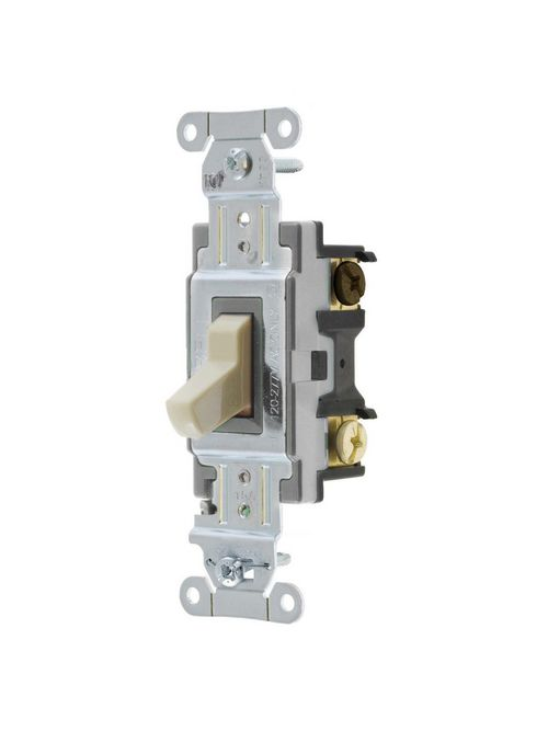 Hubbell Wiring Devices CSB315I 15 Amp 120/277 VAC 3-Way Ivory Toggle Switch