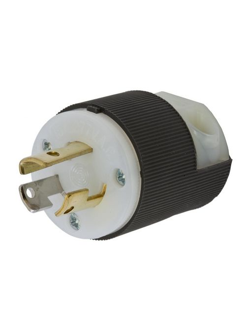 Hubbell Wiring Devices HBL4770C 15 Amp 277 VAC NEMA L7-15P Black and White Nylon Single Locking Plug