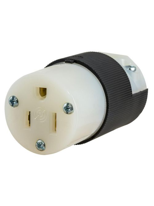 Hubbell Wiring Devices HBL5269C 15 Amp 125 Volt 2-Pole 3-Wire NEMA 5-15R Black and White Straight Blade Connector Body
