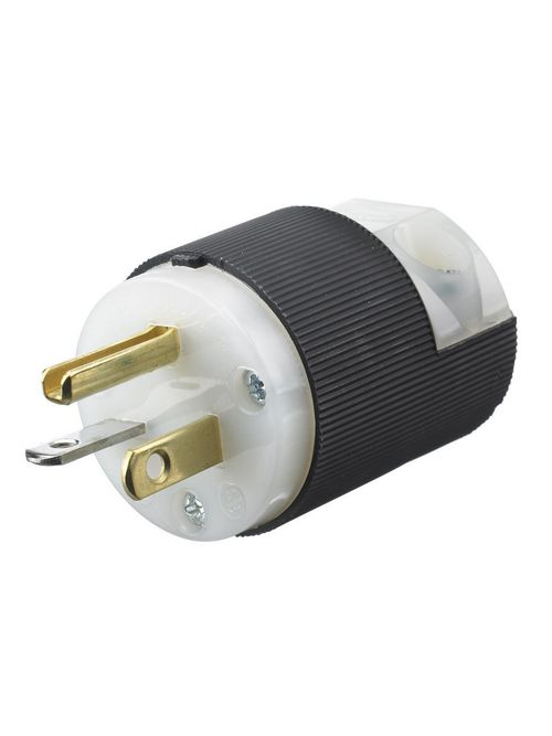 Hubbell Wiring Devices HBL5366C 20 Amp 125 Volt 2-Pole 3-Wire NEMA 5-20P Black and White Straight Blade Plug