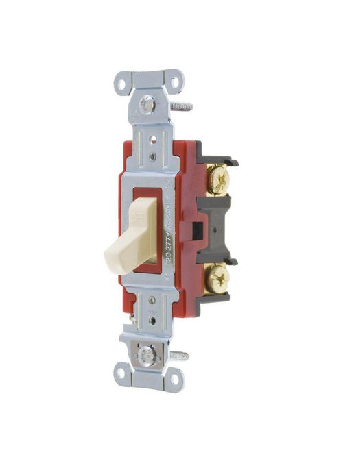Hubbell Wiring Devices 1221LA 20 Amp 120/277 VAC 1-Pole Light Almond Toggle Switch