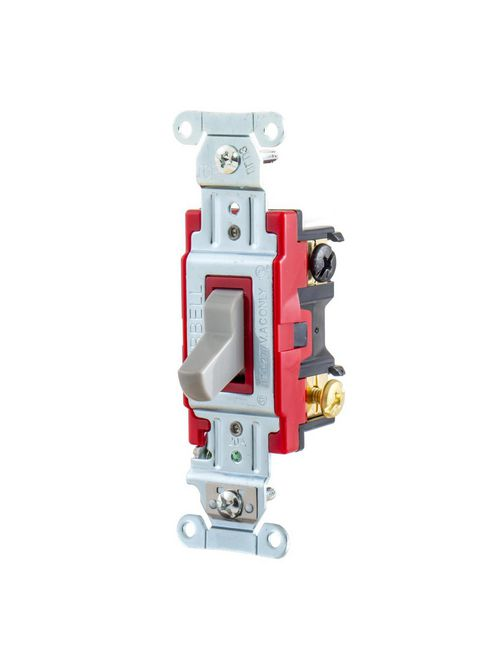 Hubbell Wiring Devices 1223GY 20 Amp 120/277 VAC 3-Way Gray Toggle Switch