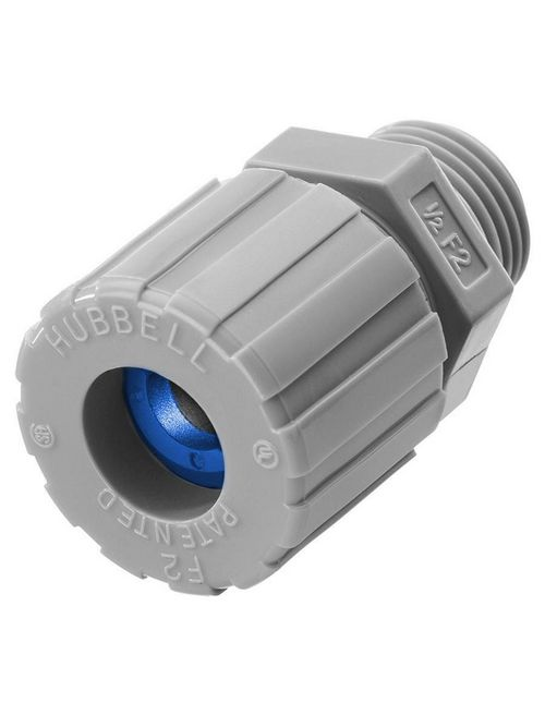 Hubbell Wiring Devices SHC1023CR 1/2 Inch Male Threaded 0.38 to 0.5 Inch Gray Nylon Straight Cord Connector
