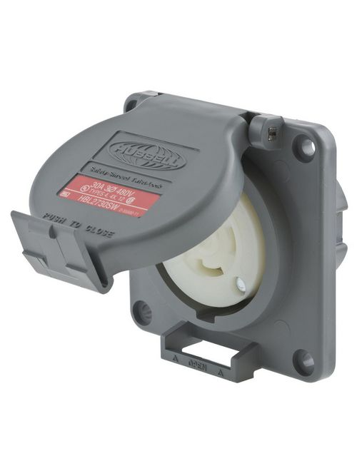 Hubbell Wiring Devices HBL2730SW 30 Amp 480 Volt 3-Pole 4-Wire NEMA L16-30R Gray Watertight Locking Receptacle