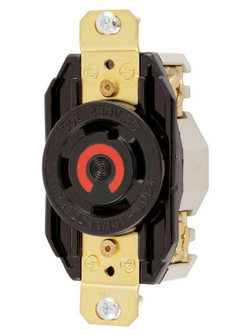 Hubbell Wiring Devices HBL2730 30 Amp 480 Volt 3-Pole 4-Wire NEMA L16-30R Black Single Flush Locking Receptacle