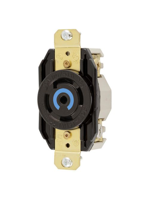Hubbell Wiring Devices HBL2810 30 Amp 120/208 VAC 4-Pole 5-Wire NEMA L21-30R Black Single Flush Locking Receptacle