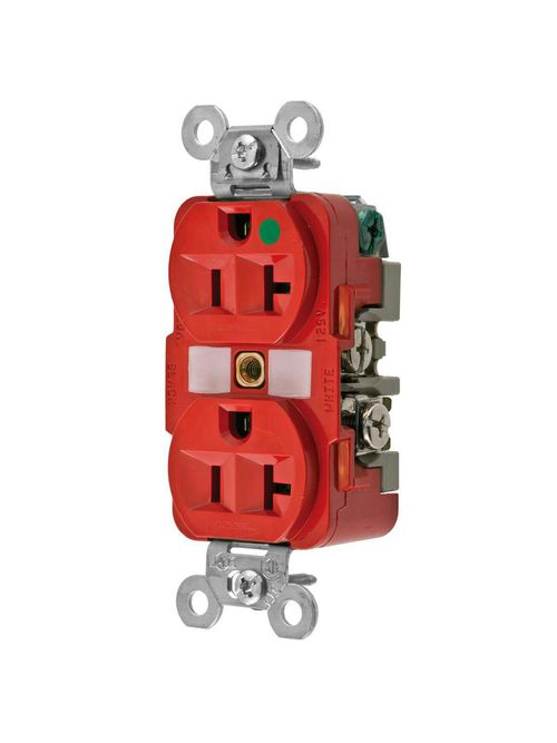 Hubbell Wiring Devices HBL8300RED 20 Amp 125 Volt 2-Pole 3-Wire NEMA 5-20R Red Straight Blade Duplex Receptacle
