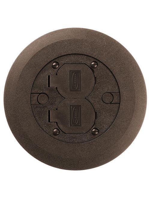 Hubbell Wiring Devices PFBCBRA 6.25 Inch Brown Non-Metallic Round Multi-Service Cover and Flange Assembly