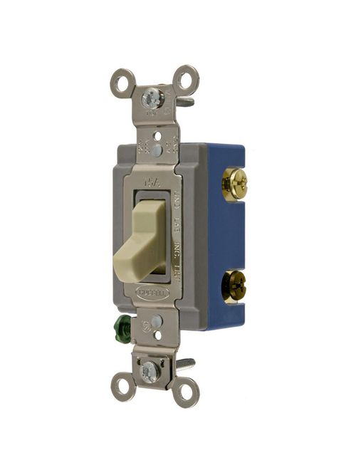 Hubbell Wiring Devices HBL1204I 15 Amp 120/277 VAC 4-Way Ivory Toggle Switch
