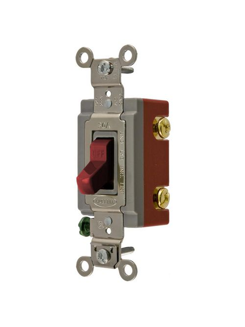 Hubbell Wiring Devices HBL1221R 20 Amp 120/277 VAC 1-Pole Red Toggle Switch