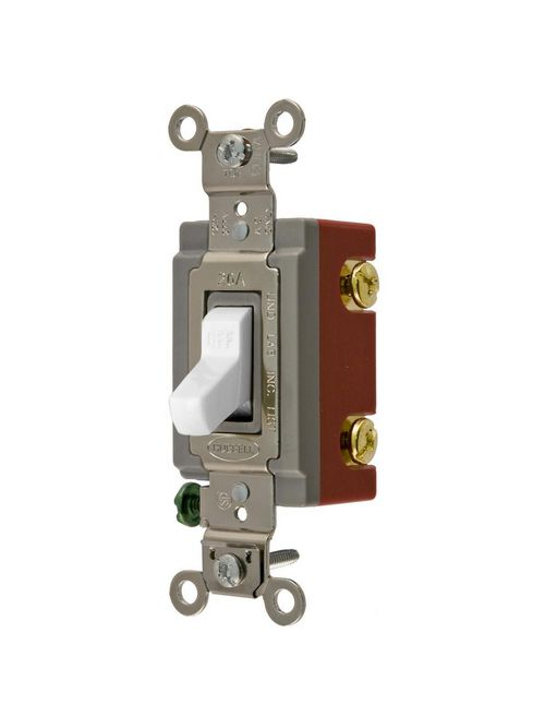 Hubbell Wiring Devices HBL1221W 20 Amp 120/277 VAC 1-Pole White Toggle Switch