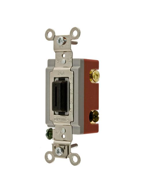 Hubbell Wiring Devices HBL1224L 20 Amp 120/277 VAC 4-Way Black Locking Toggle Switch