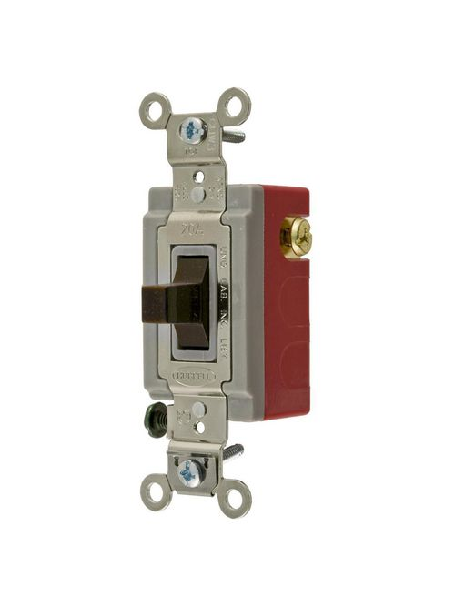 Hubbell Wiring Devices HBL1385 20 Amp 120/277 VAC SPDT Brown Toggle Switch