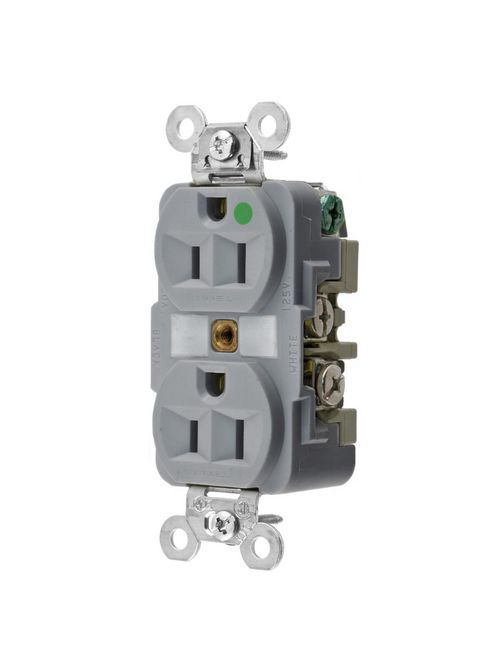 Hubbell Wiring Devices HBL8200GY 15 Amp 125 Volt 2-Pole 3-Wire NEMA 5-15R Gray Straight Blade Duplex Receptacle