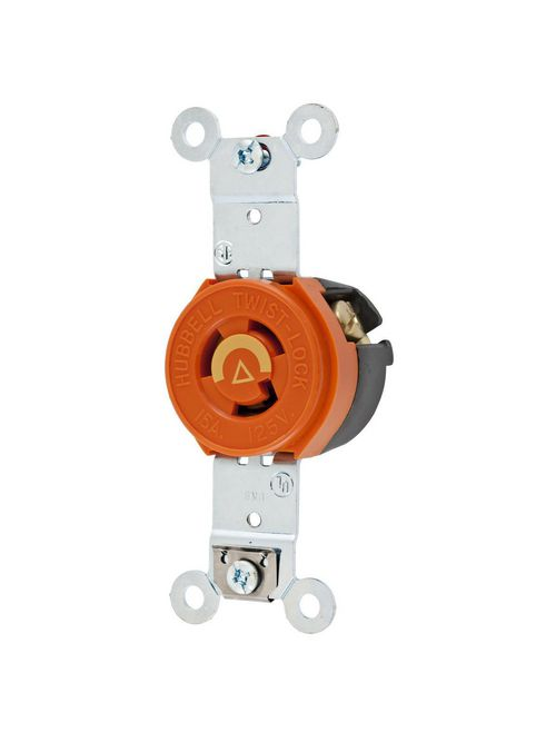 Hubbell Wiring Devices IG4710 15 Amp 125 Volt 2-Pole 3-Wire NEMA L5-15R Orange Isolated Ground Locking Single Receptacle