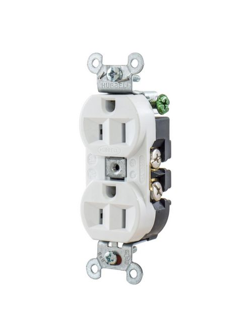 Hubbell Wiring Devices 5262W 15 Amp 125 Volt 2-Pole 3-Wire NEMA 5-15R White Straight Blade Duplex Receptacle