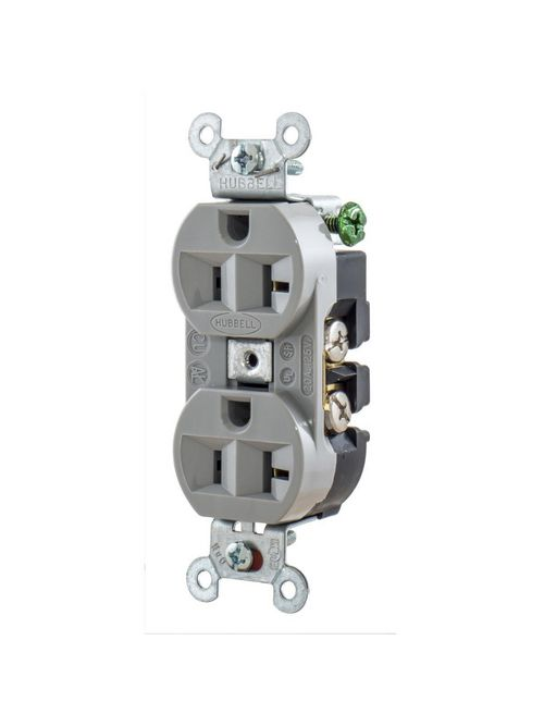 Hubbell Wiring Devices 5362G 20 Amp 125 Volt 2-Pole 3-Wire NEMA 5-20R Gray Straight Blade Duplex Receptacle