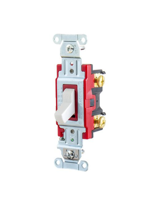 Hubbell Wiring Devices 1221W 20 Amp 120/277 VAC 1-Pole White Toggle Switch