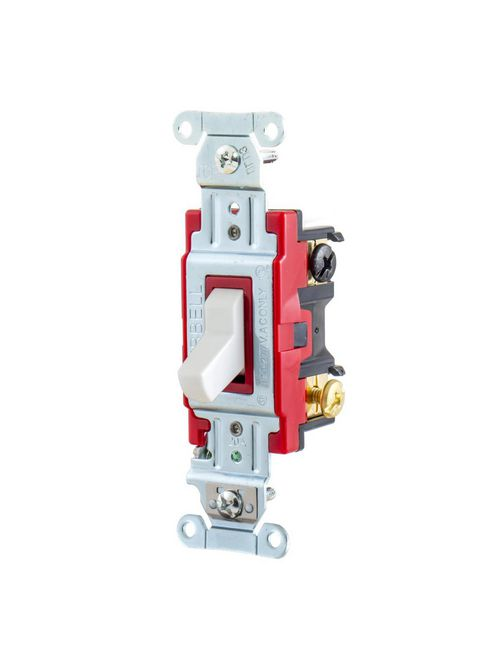 Hubbell Wiring Devices 1223W 20 Amp 120/277 VAC 3-Way White Toggle Switch