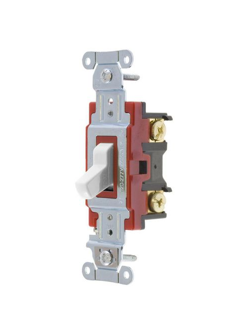 Hubbell Wiring Devices 1224W 20 Amp 120/277 VAC 4-Way White Toggle Switch