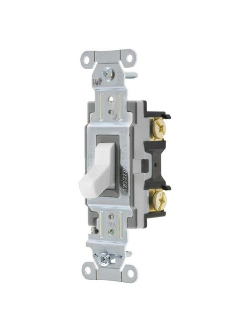 Hubbell Wiring Devices CS120W 20 Amp 120/277 VAC 1-Pole White Toggle Switch