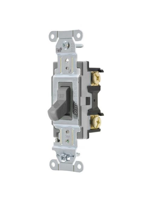 Hubbell Wiring Devices CS120GY 20 Amp 120/277 VAC 1-Pole Gray Toggle Switch