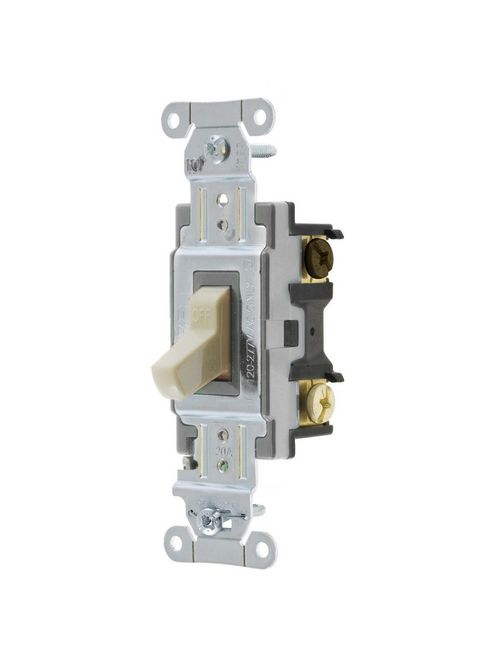 Hubbell Wiring Devices CS320I 20 Amp 120/277 VAC 3-Way Ivory Toggle Switch